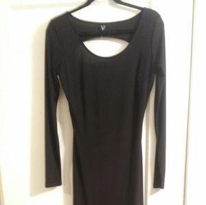 Black thigh high slit maxi nylon fitted body dress